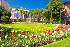 Mediterranean park in Town of Opatija flowers and palms view royalty free stock photos