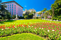 Mediterranean park in town of Opatija stock images