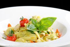Mediterranean pasta with vegetables Royalty Free Stock Photo