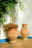 Mediterranean patio. With terracotta plant pots Stock Photo