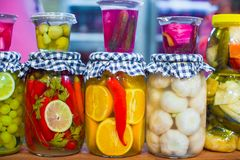 Mediterranean pickled vegetables and fruits on the Stock Photo
