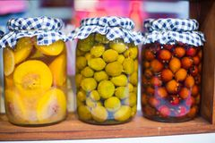 Mediterranean pickled vegetables and fruits on the Royalty Free Stock Photography