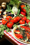 Mediterranean pizza with sea products and mussels Royalty Free Stock Photo