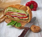 Mediterranean Pressed Picnic Sandwich with mozarella, grilled vegetables and ham. Spain Royalty Free Stock Photos