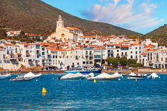 Mediterranean quay of Cadaques old village Royalty Free Stock Photo