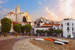 Mediterranean quay of Cadaques old village Stock Photo