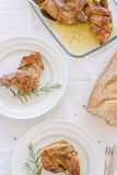 Mediterranean recipe. Traditional baked rabbit with herbs Royalty Free Stock Images