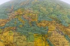 Mediterranean region at an old globe Stock Photography