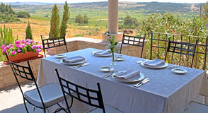 Mediterranean restaurant. Restaurant with a beautiful view stock photo