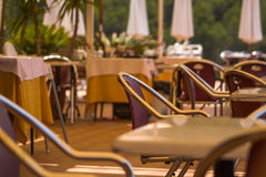 Mediterranean Restaurant. The restaurant will be open soon stock photos