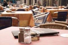 Mediterranean Restaurant. The restaurant will be open soon royalty free stock photos