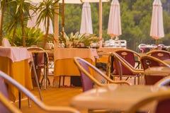 Mediterranean Restaurant. The restaurant will be open soon stock photography
