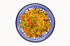 Mediterranean Rice. Served in a blue plate Royalty Free Stock Image