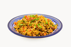 Mediterranean Rice. Served in a blue plate Royalty Free Stock Photos