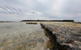 Mediterranean rocks beach. Cala Blava beach coast area in the Spanish balearic island of Mallorca Stock Photos