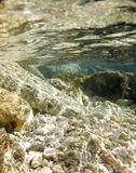 Mediterranean rocks beach underwater vertical royalty free stock photography