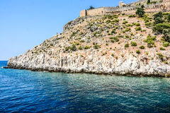 Mediterranean rocks and ocean in Turkey Stock Photography