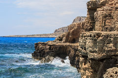 Mediterranean rocky sea coast. Cyprus Mediterranean rocky sea coast near Ayia Napa royalty free stock images