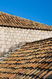 Mediterranean roof. Old tile roof of Mediterranean town Stock Photography