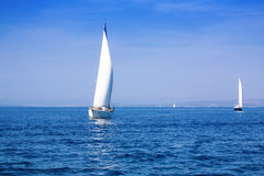 Mediterranean sailing. Sailboats in the Adriatic Sea off the Dalmatian coast Stock Photos