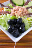 Mediterranean salad. With black olives, tuna and anchovies Stock Photo