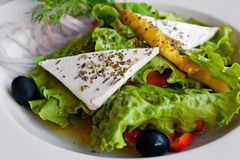 Mediterranean salad. With olives, cheese and peperoni Stock Photo