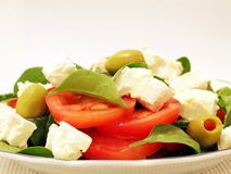 Mediterranean salad. With white background Royalty Free Stock Photography