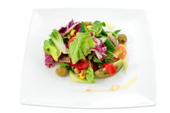 Mediterranean salad. With natural ingredients for a balanced diet and isolated cropped Stock Photo