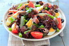 Mediterranean salad with anchovies and olives Stock Image