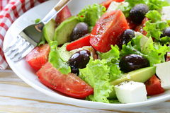 Mediterranean salad with black olives, lettuce, cheese Stock Image