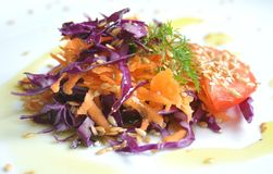 Mediterranean salad with cabbage , carrots and tomato stock image