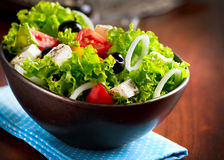 Mediterranean Salad. With Feta Cheese, Tomatoes and Olives Royalty Free Stock Photos