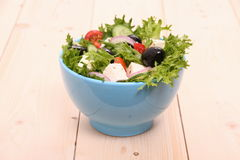 Mediterranean salad, gigantic black olives, sheeps cheese Stock Photo