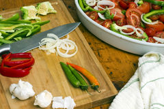 Mediterranean salad with ingredients Stock Image