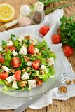 Mediterranean Salad. With lettuce, feta cheese, tomatoes and nuts stock photography
