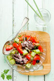 Mediterranean salad with octopus tomatoes cucumber Royalty Free Stock Image