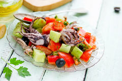 Mediterranean salad with octopus tomatoes cucumber onion. And olive royalty free stock photos