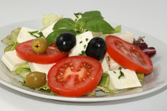 Mediterranean salad with organic feta cheese Royalty Free Stock Images