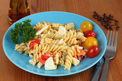 Mediterranean salad with pasta Royalty Free Stock Photography