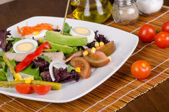 Mediterranean salad in restaurant Royalty Free Stock Photos