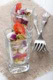 Mediterranean salad in a shot glass Stock Images