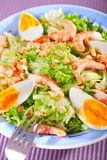 Mediterranean salad with shrimps and eggs Stock Photo