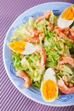 Mediterranean salad with shrimps and eggs Royalty Free Stock Photography