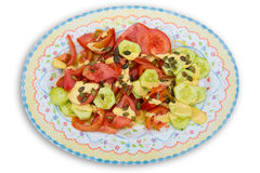 Mediterranean salad with tomato cucumber pumpkin seeds Royalty Free Stock Photography