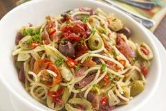 Mediterranean Salami Spaghetti Royalty Free Stock Image