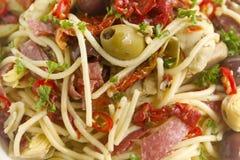 Mediterranean Salami Spaghetti Royalty Free Stock Photos