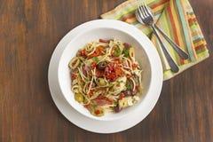 Mediterranean Salami Spaghetti Stock Images