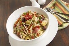 Mediterranean Salami Spaghetti Stock Photos