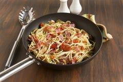 Mediterranean Salami Spaghetti Stock Photography