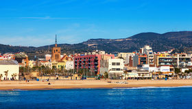 Mediterranean sand beach in Badalona, Spain Royalty Free Stock Photography